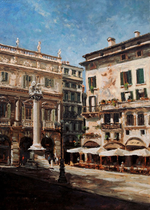 Verona pittore painter dipinto Piazza Erbe